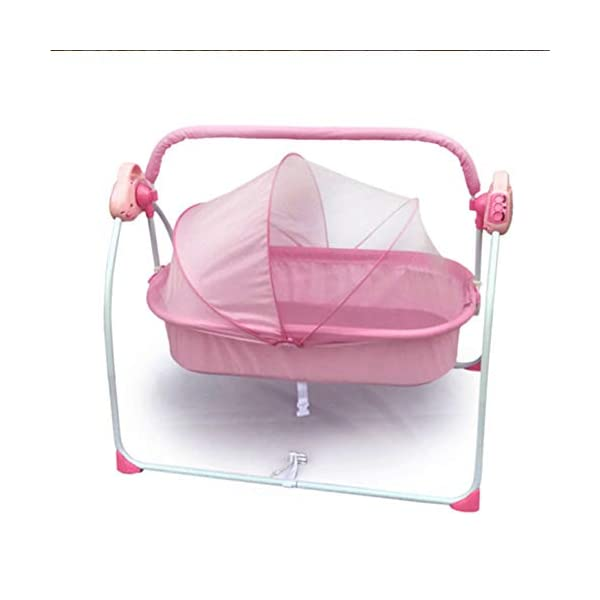 Mr.LQ Electric Shaker Electric Cradle Bed Baby Shake Bed Newborn Sleeping Intelligent Automatic Flat Lay Crib,Pink  ?Special design: Carefully design every detail to create a comfortable feeling for your baby. It is closer to the mother's arms. ?Safety: thick steel pipe, strong carrying capacity, anti-slip mat on the foot, ensuring the base is strong, will not damage the floor ?Additional features: 3-speed swing, 3-speed timing, 6 music, with mattress and mosquito net 1