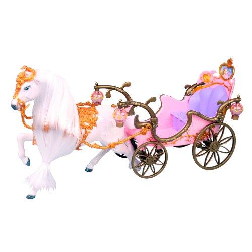 Preisvergleich Produktbild Prinzessin / Prinzessinnen Kutsche mit Beleuchtung und Puppenpferd