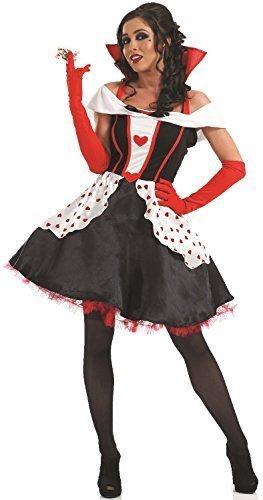 Damen Längere Länge Königin der Herzen Alice im Wunderland büchertag Halloween Kostüm Kleid Outfit 8-30 Übergröße - Schwarz, 20-22