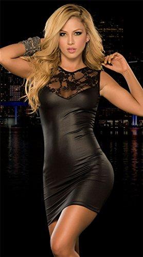 Ostenx Femme Robe Sexy en Cuir Dentelle Robe de Soirée/Cocktail Décolleté Sans Manches Courte Elégante Rouge+Noir Noir