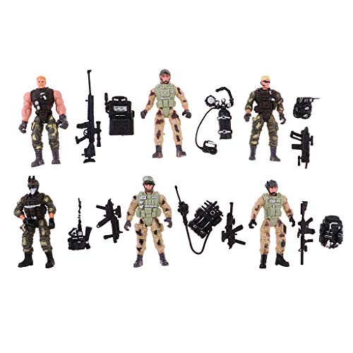 MagiDeal 6er-Set Militär Szene Action Figur Armee Kampf Spiel Spielzeug Soldat Spielset (Spielset Action-figuren)