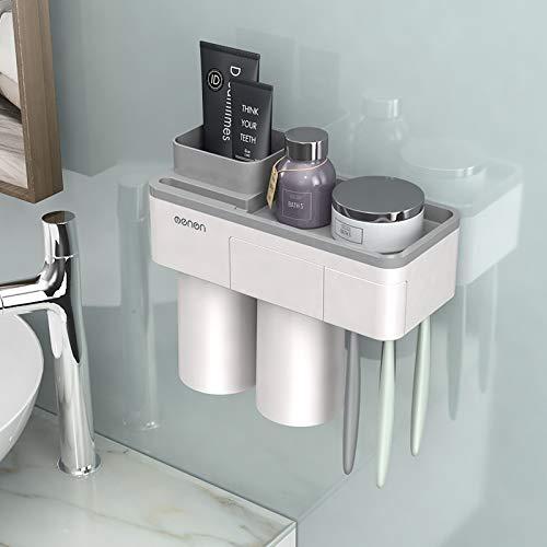 STARKWALL 3 Color Zahnbürste Holder Cup Makeup Cleanser Phone Bathroo Lagerung Zahnpasta Und Zahnbürste Holder Wand Berg 2 Tassen Gray (Wand-berg-cup)