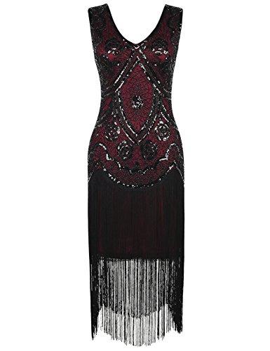 Der Kleider Vintage Jahre 1920er (Kayamiya Damen Vintage 1920er V-Ausschnitt Pailletten Perlen Floral Flapper Gatsby Kleid M)