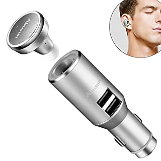 Ajusen® 3 in 1 Car Charger Adapter Mini Bluetooth 4.1 Headset 3.1A USB Car Charger With Safety Hammer Hands-free Car Kit Charger for iPhone and Android Devices -Silver