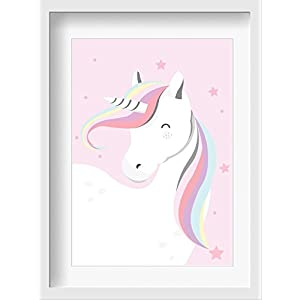 """Bilder Kinderzimmer Poster""""Miss Einhorn"""" – hochwertiger Druck auf Qualitäts-Papier, pastellfarben (ungerahmt)"""
