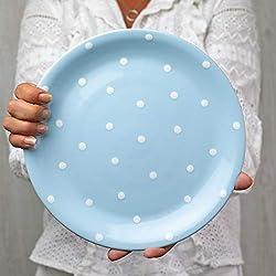 City to Cottage - Vajilla de cerámica de Color Azul Claro y Blanco, diseño de Lunares, Hecha a Mano, de cerámica esmaltada, 25,5 cm