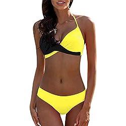 Traje de Baño Bikini Mujer 2019 Bikinis Sujetador Push-up Sexy Traje de Baño de Dos Piezas Bohemio BañAdores Tops y Braguitas Ropa de Playa vikinis riou (Amarillo, L)