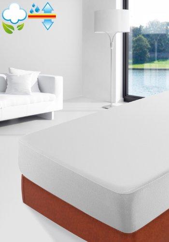 Savel, Lenzuolo con Angoli e Proteggi Materasso -un prodotto con due funzioni - 100% cotone, impermeabile e traspirante. Bianco - Singolo (80x190/200cm)