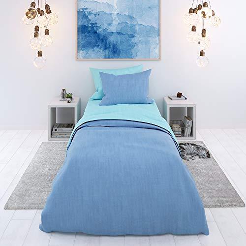 Juego sábana, 2 piezas, Bicolor Azul-Turquesa - Funda