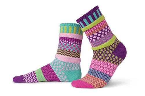 Solmate Socks - Dahlia - Odd Mismatched Crew Socks for Women for Men, Made with Recycled Cotton Yarns in USA