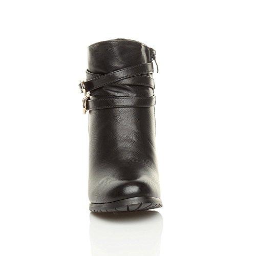 Damen Hohe Blockabsatz Riemchen Gürtel Goldschließe Schnalle Stiefeletten Größe Schwarz Matt