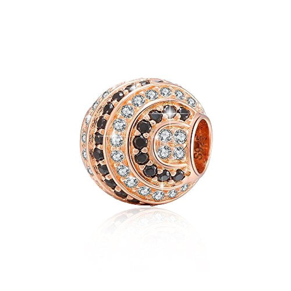 MAISON D'ARGENT - The Charms of Paris - Bead aus 925 Sterlingsilber - SPIRALS, rotgold/schwarz