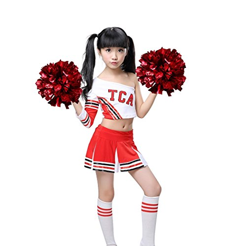 Dreamowl Mädchen Red Cheerleader Kostüm Kinder Cheerleader Uniform mit Socken Poms (146/152)