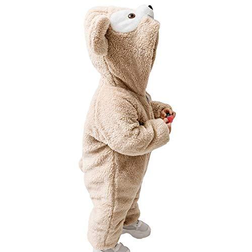 YISHU Kinder Baby Tier Kostüme Supersanft Tieroutfit Dick Flanell Pyjama Cosplay Jumpsuit Schlafanzug Mädchen Jungen Winter Nachtwäsche Khaki Bär 80