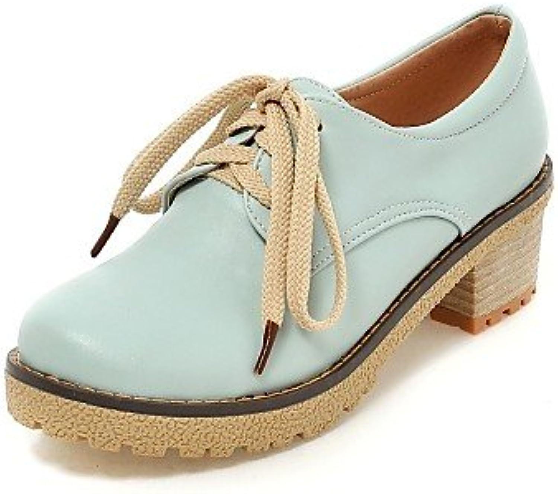 ZQ Zapatos de mujer - Tacón Robusto - Punta Redonda - Oxfords - Oficina y Trabajo / Vestido - Semicuero - Azul...