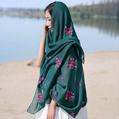 zoyolo Herbst Und Winter Blumen Bestickt Baumwolle Leinen Schal, Monochrome Stickerei Warmen Schal Schal Frau 90 x 180cm grün -