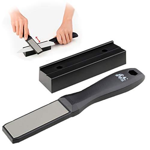 Dapei Messerschärfer Professional Abziehstein für scharfe Messerklingen aus Stahl Profi Messer Schärfer für Messer Kitchen Knife Sharpener Doppelseitige Keramik Wetzstein 190x30x12mm Professional Knife Roll