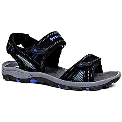 Dunlop Men's Sports Beach Trekking Walking Hiking Hook & Loop Sandals Sizes 7-12 (7 UK, Black/Blue.)
