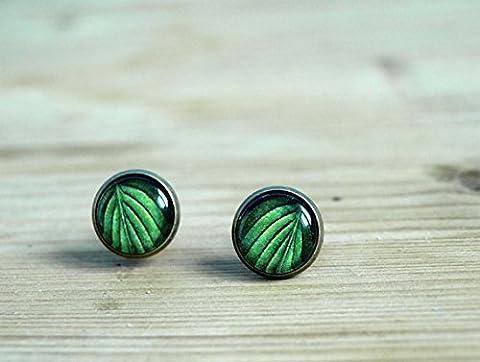Boucles d'oreilles Feuille Vert toile–Nature Jewelry Boucles d'Oreilles cabochon–Petit oreille–Dôme en verre Botanique–Jewelry