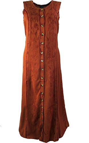 Besticktes indisches Hippie Kleid in 6 Farben / Lange Kleider Rostrot