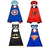 LYTIVAGEN Halloween Disfraces de Superhéroes, Capas de Superhéroe para Niños-4 Capas y 4 Máscaras-Kit de Valor de Cosplay , Ideal para Regalos de Cumpleaños, Navidad, Halloween, Fiestas