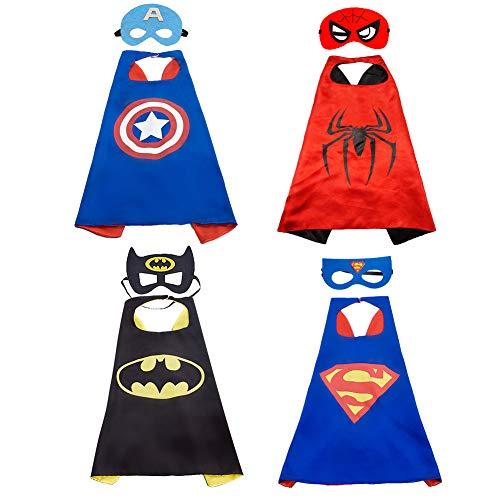LYTIVAGEN 4 Stück Superhelden Kostüm, Superhelden Umhang und Maske für Kinder Superhero Kostüm für Weihnachten,Halloween,Geburtstag,Themenparty, Kinderkarneval
