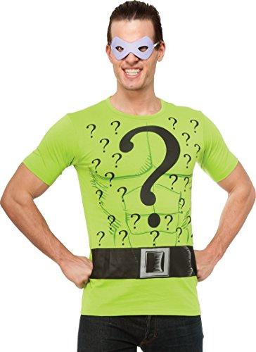 Der Riddler T-Shirt und Augenmaske Herren Kostüm Superheld Herrenkostüm M - XL, (Riddler Herren Kostüme)