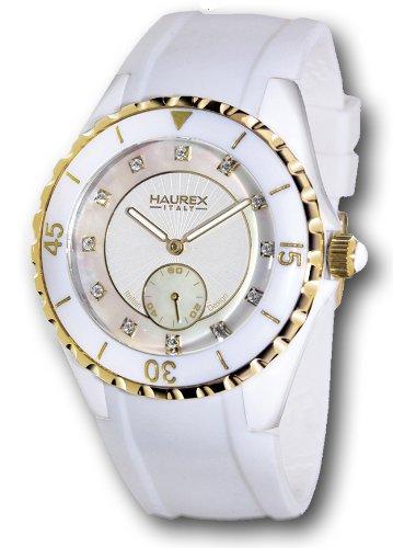 Haurex Italy Riviera Mother-of-Pearl Dial Watch #1W337DWY - Reloj de mujer de cuarzo, correa de goma color blanco