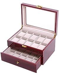 Feibrand Reloj de Madera Caja de Almacenaje Para 20 Relojes Rojo