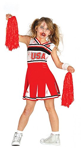 shoperama Mädchen-Kostüm Zombie-Cheerleader Halloween Kleid blutig Kinder Horror USA Sport, Kindergröße:116 - 5 bis 6 ()