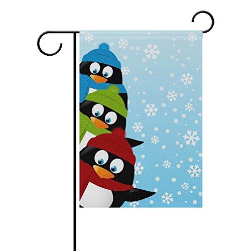 Doble cara divertido tres pingüinos en invierno poliéster casa jardín bandera Banner 12x 18/28x 40pulgadas para todo tipo de clima para boda fiesta