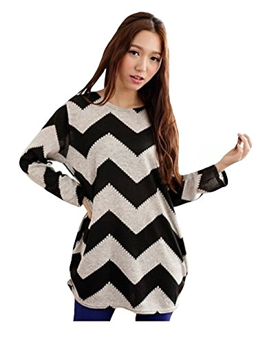Bestgift Femme Grand Taille Pulls Longues Batwing Manches Une Image XL Bestgift