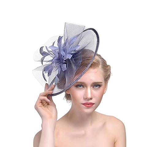 DUUMY Femmes 2017 New mode Feather net Harnais Banquet Chapeau Chevaux Chapeaux Danse Bride Gauze Handmade Headdress Bijoux de Mariage , ash