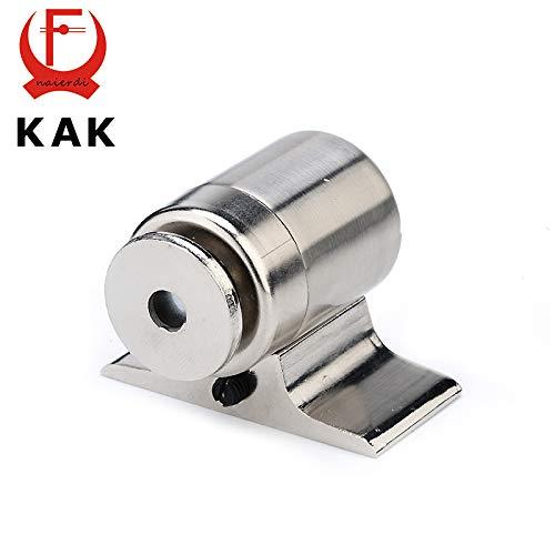 Aliaoforz -207 Zinc Alloy Magnetic Door Stop Holder Floor-Mounted Stopper Stainless Steel Nickel Brushed for Furniture Hardware - Brushed Nickel Door Stop