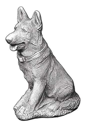 Deutscher Schäferhund sitzend (H1054) Skulptur Deko Gartenfiguren Statuen Steinguss Beton 44 cm -