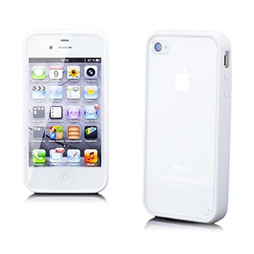 iCues Apple iPhone 4/4S |  TPU Bumper mit Klare Rückseite Case Neon Grün | [Display Schutzfolie Inklusive] Transparent Klarsichthülle Durchsichtig Klare Klarsicht Silikon Gel Schutzhülle Hülle Cover S Weiss
