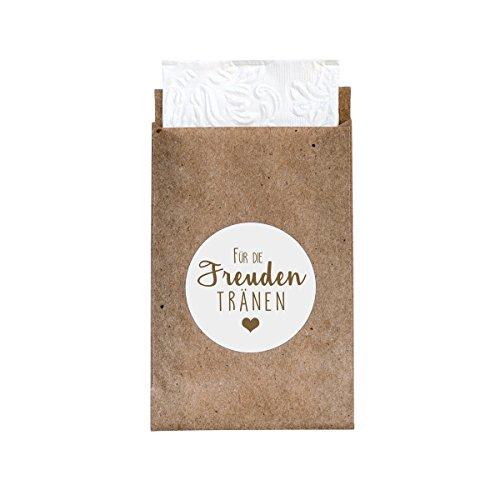 24 Geschenktüten + 24 Sticker 'Freudentränen' (kraft/weiß) - Süße Minipapiertüten und Sticker im Vintage-Stil für die Hochzeit - Flachbeutel für Taschentücher