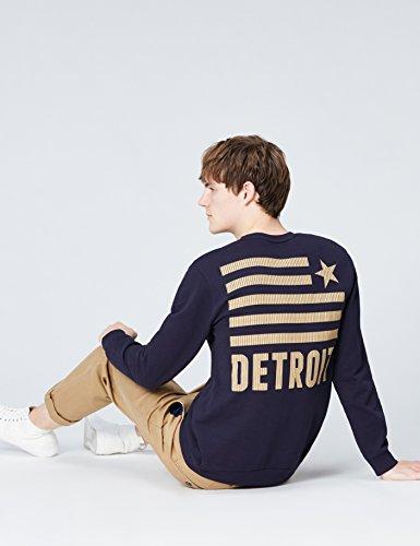 FIND Herren Sweatshirt mit Logo-Print Blau (Navy 001)