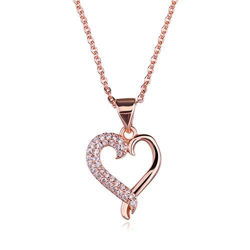 Roségold Herz-Halskette Zirkonia Kristalle Kostüm-Schmuck für Frauen, ideal für Weihnachten, Geburtstagsgeschenk für Mutter, geliebte Menschen oder Freundin. Starke Kette und schöner - Macht Ein Weihnachtsgeschenk Kostüm