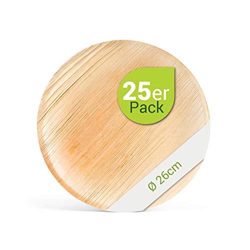 Leef® Bio Palmblattgeschirr - 25 Stück Palmblatt Teller rund Ø 26 cm - Einweggeschirr hochwertig, unbehandelt, biologisch abbaubar & nachhaltig Wegwerfgeschirr Einwegteller