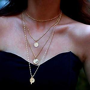 XUHAHAXL Halskette/Personalisierte Kreative Kreisförmige Retro Halskette Einfache Multi Layer Halskette Kette