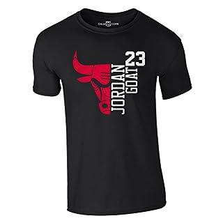 Jordan T-Shirt 23 Goat Chicago Bulls Michael Basketball Shirt (L, Schwarz)