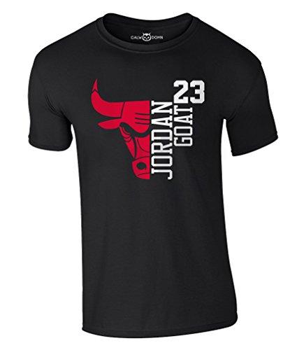 Jordan T-Shirt 23 Goat Chicago Bulls Michael Basketball Shirt (M, Schwarz)