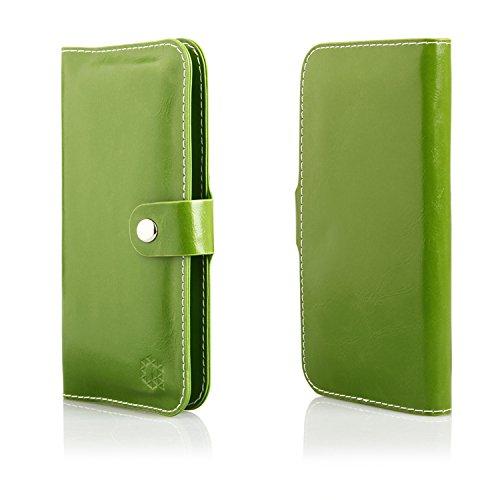 MOELECTRONIX HQ Buch Tasche GRÜN Klapp Schutz Hülle Wallet Flip Case Etui für Oukitel C2
