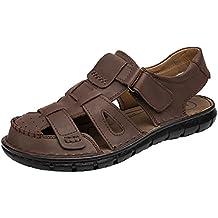 SK Studio Romanas Sandalias Hombre Trekking de Cuero Outdoor Transpirables Zapatos Con Velcro