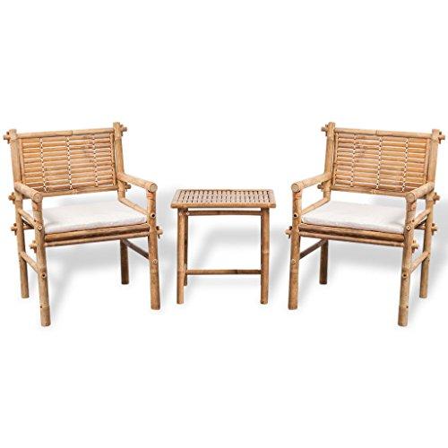 Festnight Fünfteiliges Gartenmöbel-Set aus Bambus Gartengruppe Gartengarnitur inkl. 1 Tisch, 2 Stühle und 2 Sitzkissen (Küche Stühle-set Von Zwei)