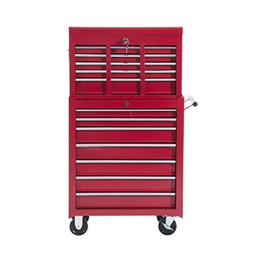 Homcom  Fahrbarer Werkzeugwagen Werkstattwagen Rollwagen Werkzeugkasten (Rot) - 3