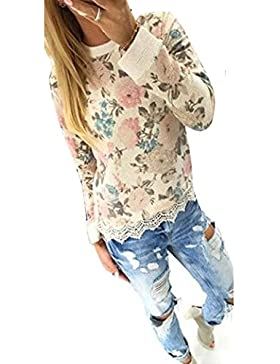 Minetom Mujer Manga Larga Tapas Floral Impresa Blusa Delgado Camiseta Cordón Dobladillo