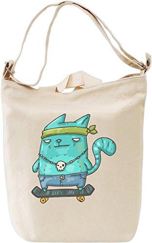 Skater kitty Leinwand Tagestasche Canvas Day Bag| 100% Premium Cotton Canvas| DTG Printing| (Bandana Kitty)