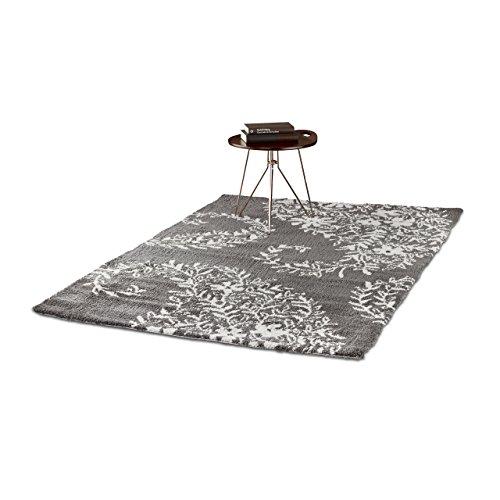 Relaxdays Shaggy Alfombra para Salón o Pasillo, Poliéster, Gris Oscuro, 120x170x1 cm